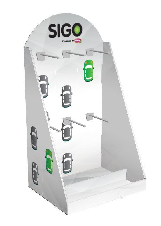 Desk-top cardboard display, with blister hooks and a small space at the base for supplementary products.