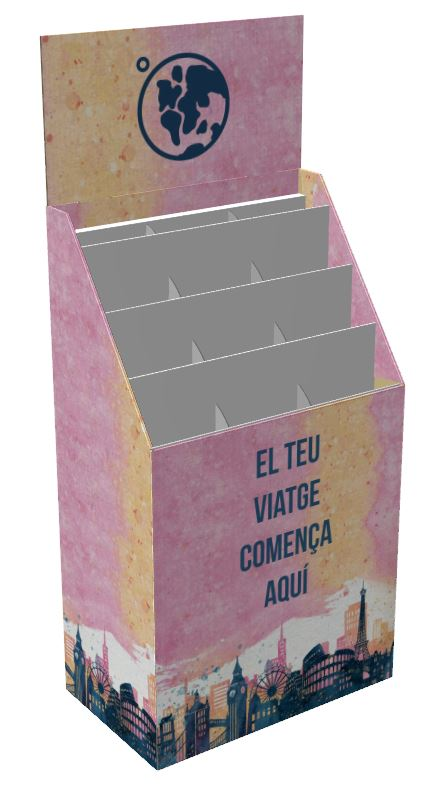 Cardboard display for books, magazines, postcards or similar. It can be presented, new models with a maximum size of DIN A-4