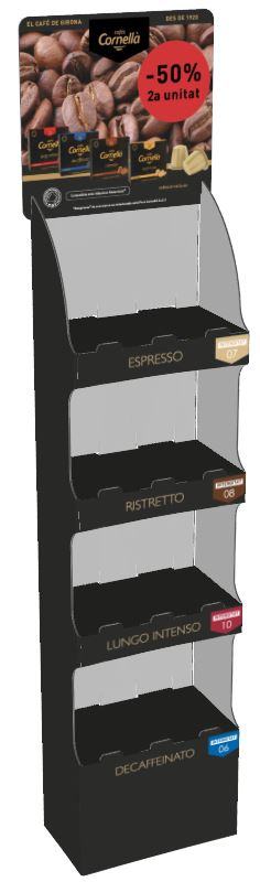 Cardboard display with four trays. Customization of the PL-1374-D standard for sale of coffee packs.