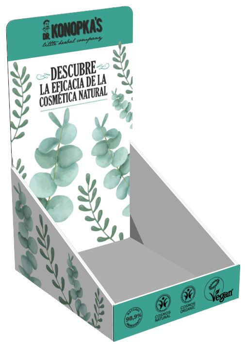 Corrugated display, for desktop, with the display insert. For the promotion of a line of natural cosmetics.